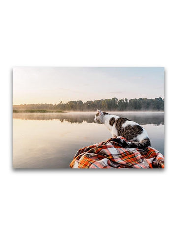 Domestic Cat Gazing Over Lake Poster -Image by Shutterstock