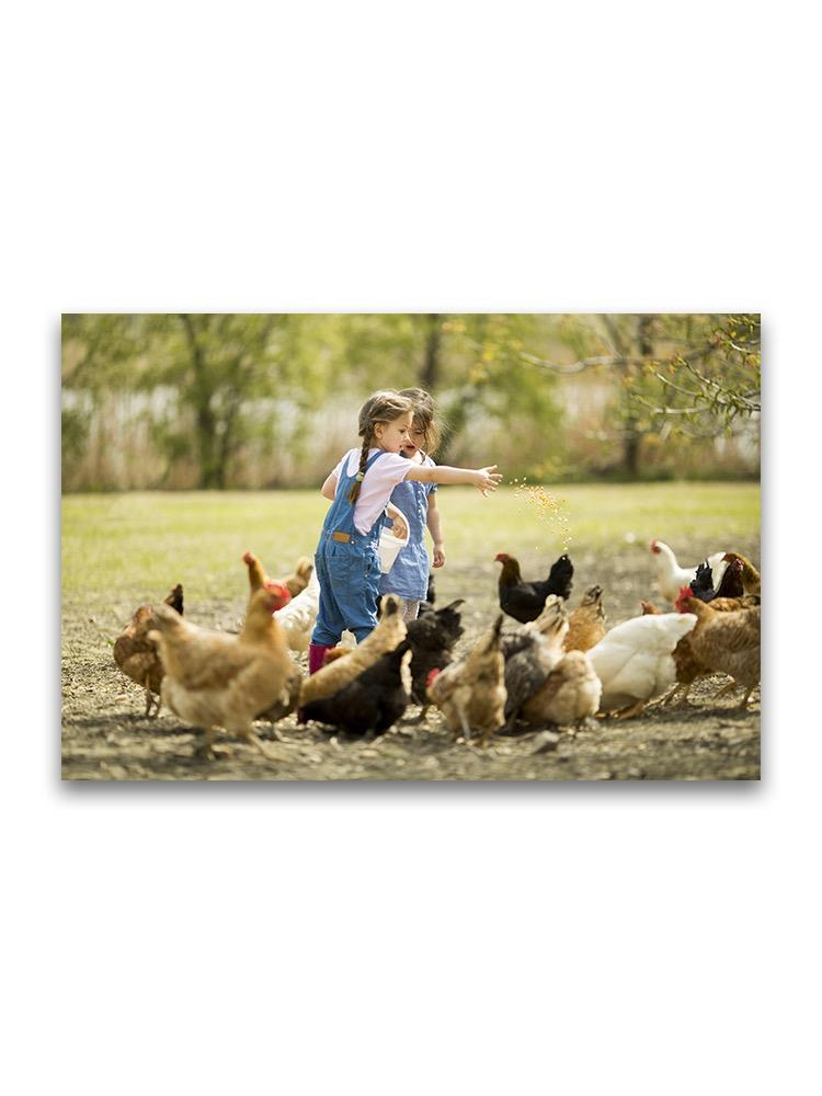 Little Girls Feeding Chickens Poster -Image by Shutterstock