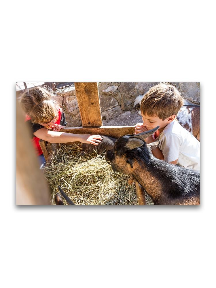 Siblings With Farm Animals Poster -Image by Shutterstock
