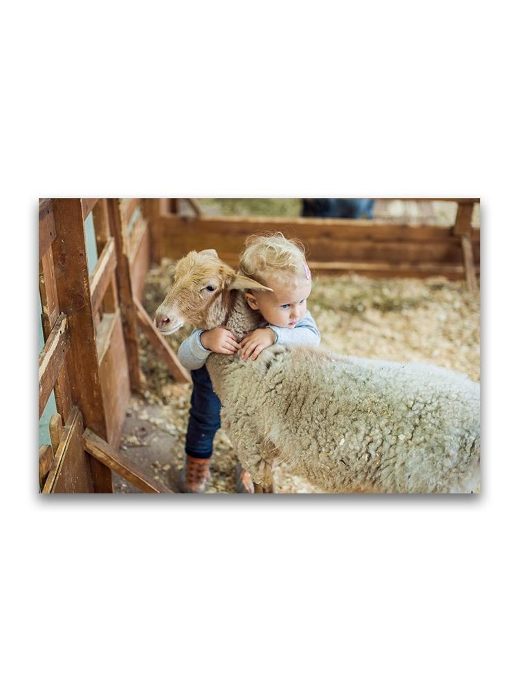 Baby Hugging A Lamb  Poster -Image by Shutterstock