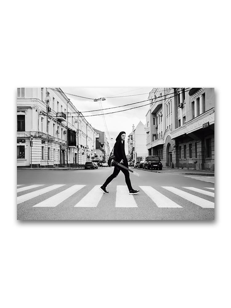 Guitarist Crossing The Street Poster -Image by Shutterstock