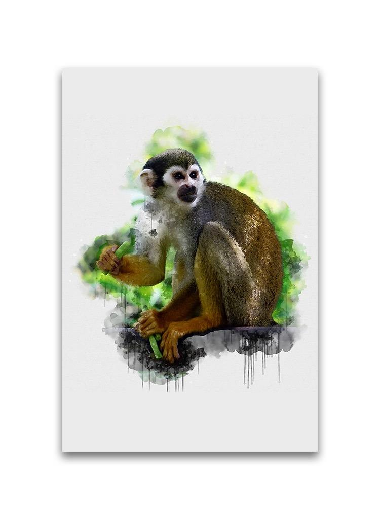 Digital Watercolor Monkey Eating Poster -Image by Shutterstock