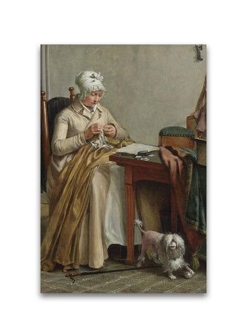 1800 Woman Sewing Oil Painting Poster -Image by Shutterstock