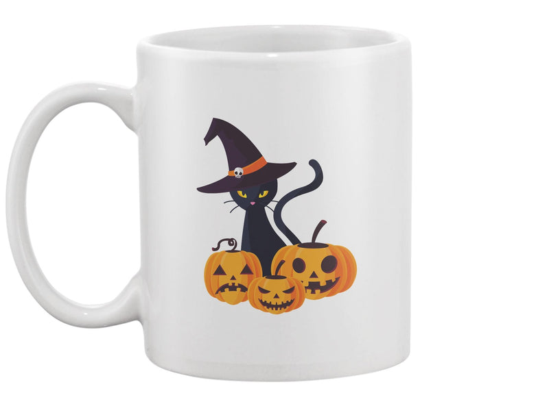 Pumpkins And A Black Cat Mug -Image by Shutterstock