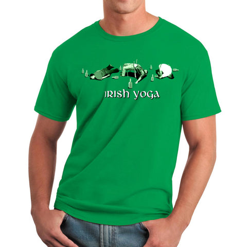 Funny Drink Irish Yoga Graphic Men's T-shirt