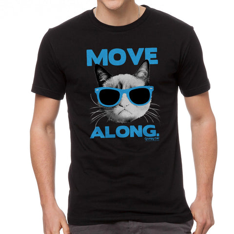 Grumpy Cat Move Along Men's Black T-shirt