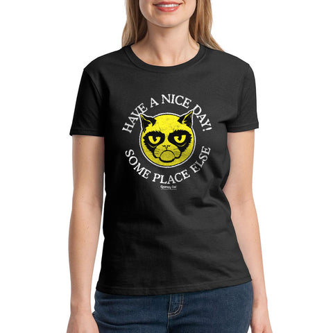 Grumpy Cat Nice Day Women's Black T-shirt