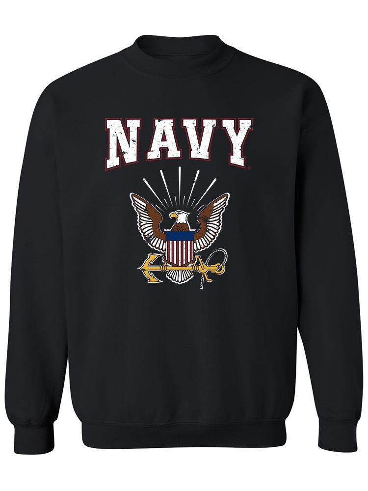 Navy Logo Phrase Sweatshirt Women's -Navy Designs