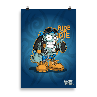 Ride or Die Biker Zombie Poster