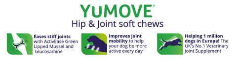 YuMOVE Hip & Joint Soft Chews: Eases stiff joints with ActivEase Green Lipped Mussel and  Glucosamine; Improves joint mobility to help your dog be more active every day; AND is helping 1 million dogs in Europe! The UK's No.1 Veterinary Joint Supplement