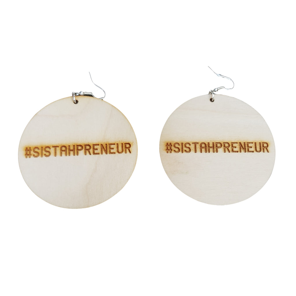 #SISTAHPRENEUR - Wood Earrings