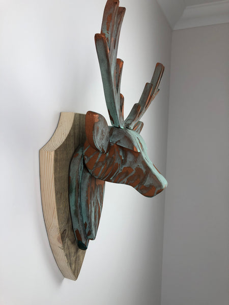 STAG HEAD Wall Mounted - Hand Crafted - Copper Verdigris Stag- Faux Deer Wall Mounted - Wall Art - Animal Wall Decor & Art