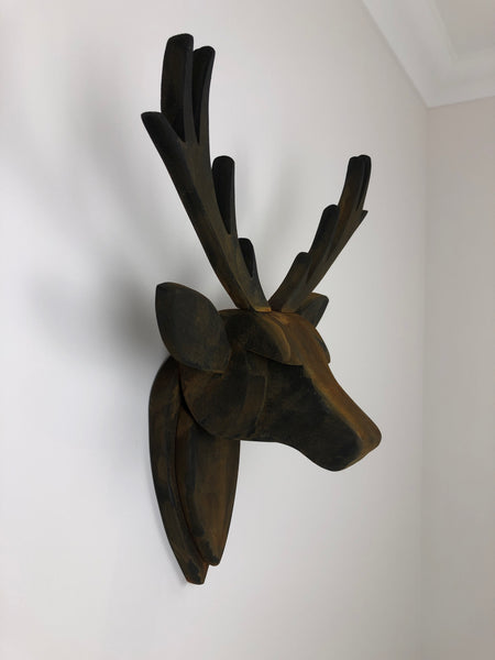 STAG HEAD Wall Mounted - Hand Crafted - Rust Effect Stag - Faux Deer Wall Mounted - Wall Art - Animal Wall Decor & Art