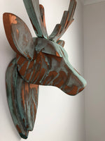 STAG HEAD Wall Mounted - Hand Crafted - Copper Verdigris Stag - Faux Deer Wall Mounted - Wall Art - Animal Wall Decor & Art