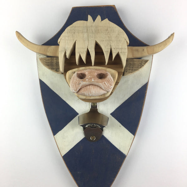 Highland Cow - Bottle opener mounted on a Scottish flag shield