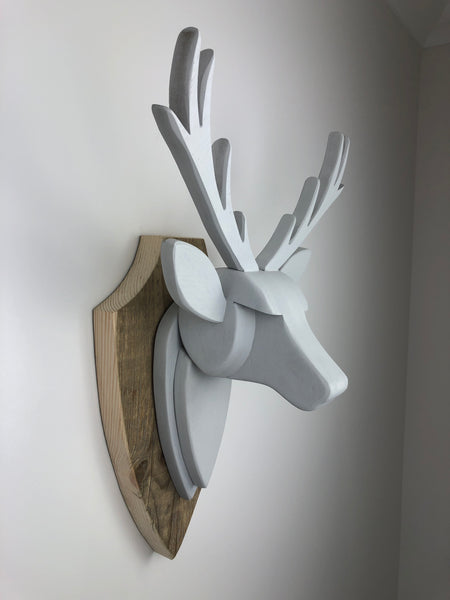 STAG HEAD Wall Mounted - Hand Crafted - Cornforth (Farrow and Ball) - Faux Deer  - Wall Art - Animal Wall Decor & Art