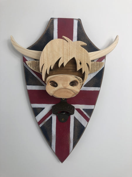 HIGHLAND COW - Magnetic bottle opener- Union Jack Flag - Wall mounted