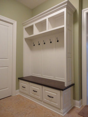 Sweet White Mudroom Bench