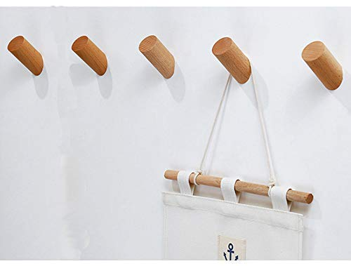REMEE Wall Mounted Wooden Coat Hooks Vintage Handmade Craft Racks for Hanging Hat Scarf Towel Key/Organizing Cups Mugs,Beech Wood Organizer Hanger,Pack of 5(Style 1)