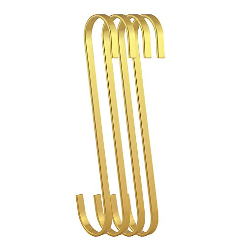 RuiLing 4-Pack 8 Inch Steel Hanging Flat Hooks - Gold Chrome Finish S Shaped Hook Heavy-Duty S Hooks,Multi-Purpose for Kitchenware, Pots, Utensils, Plants, Towels, Tools, Clothes