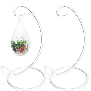 BANBERRY DESIGNS Ornament Display Stands Racks –Wrought Iron White 2 Pack – 13 inches Tall- Christmas Ornament Terrarium Holder Glass Globe Lanterns