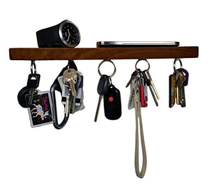 "Brooklyn Basix Premium Magnetic""bar"" Wood Key Ring Holder and Shelf for Mail, Letter, Phone, Wallet, Sunglasses Wall Mounted Organizer Perfect for Mudroom, Entryway, Foyer, Kitchen (Walnut)"