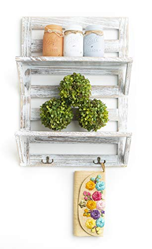 Rustic Farmhouse Entry Way White Wash Shelf with Key Holders, Kitchen Shelf - 2 Tier (White Wash, Entry Way)