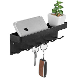 MyGift 6-Hook Wall-Mounted Black Metal Key Holder with Top Shelf