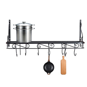 Wall Mounted Pots and Pans Rack. Pot Holders Wall Shelves with 12 Hooks. Kitchen Shelves Wall Mounted with Wall Hooks. Kitchen Storage Pot Holder Pot Rack (wall mounted)