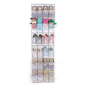 Over Door Shoe Storage, 24 Large Mesh Pockets Heavy Duty Hanging Holder Tidy Wall Fabric Shoes Organizer, Shoe Storage Rack Bag, Toy Storage, Foldable Hanging Over Storage Wardrobe (White)