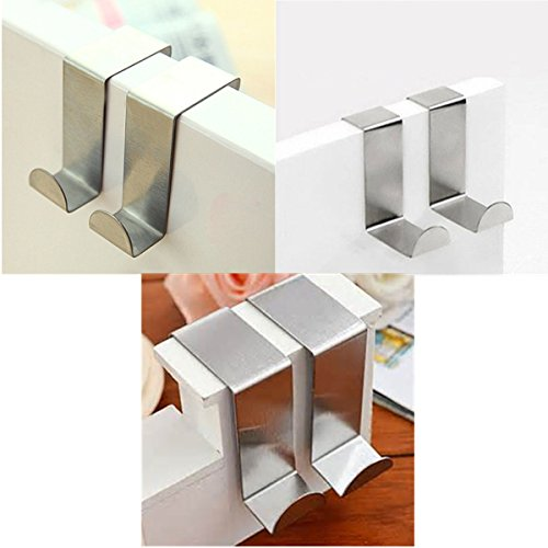 Doitb 6pcs Over Door Hanger Stainless Steel Hanging Hooks for Bathroom Bedroom Office Cabinet Draw Clothes Kitchenware Pots Utensils anging Hooks Hangers for Bathroom Bedroom Office and Kitchen Silver