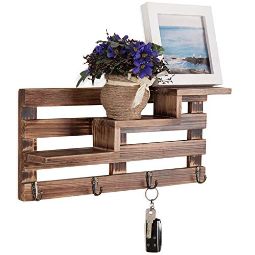 MyGift Rustic Wall-Mounted Entryway Burnt Wood Display Shelf with 4 Key Hooks