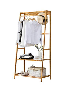 Ufine Bamboo Clothing Garment Rack Heavy Duty Coat Hanging Rack with 6 Hooks, 3 Tier Storage Shelves for Clothes Shoes Hats, in Entryway, Bedroom, Living Room, Guest Room, Apartment and Dorm