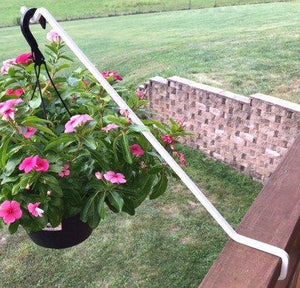 "3-Pack, 23"" Steel Angled Deck Potted Plant Hook-White"