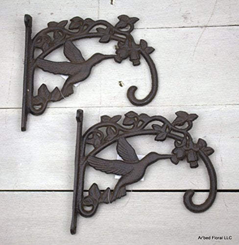 Upper Deck Large Cast Iron Wall Hook Hummingbird Large Plant Holder Hanger Set of 2 7.75 Inches Long By 7.25 Inches Tall By 1.75 Inches Wide