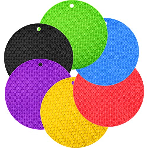 Boao 6 Pieces Silicone Trivets Mat, Hot Pad Mat, Pot Holder, Spoon Rests and Jar Gripper Pads (Color A, Style A)