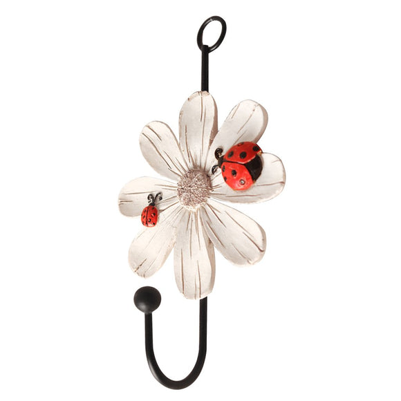 Dovewill Daisy Flower Wall Hook/Holder/Hanger Bag/Key/Coat/Towel Kitchen Storage - Red, 14x8cm