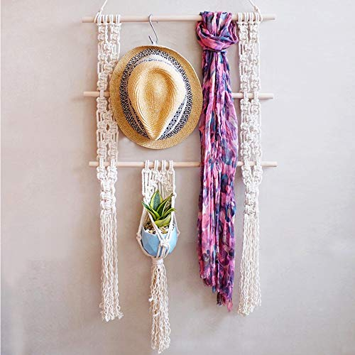 LSHCX Boho Macrame Floating Swing Hanging Shelf Wall Display Storage Shelves Cotton Rope Organizer Rack with A Small Plant Hanger, 35.4 x 17.7In