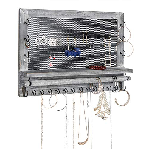 VERGOODR Rustic Wood Jewelry Organizer Wall Mounted,Wooden & Metal Mesh Wall Mount Organizer Rack,Holder for Jewelry Such as Earrings,Necklaces,Bracelets