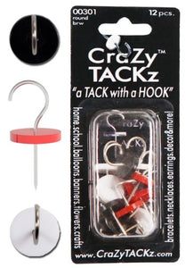 CraZy TACKz Bwr-12Pc Push Pin, Black/Red/White