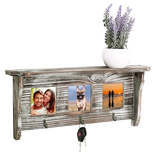 MyGift Wall Mounted Rustic Torched Wood Entryway Photo Frame Shelf with 3 Key Hooks