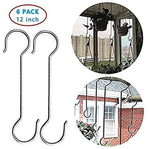 12Inch Metal Hanging Christmas S Hooks - Extra Large Shaped Hook Heavy-Duty S Hooks,for Kitchenware, Plants,Clothing store, Garden S Hook,Hotels,Hovel and workshops,Stainless steel(6-Pack)