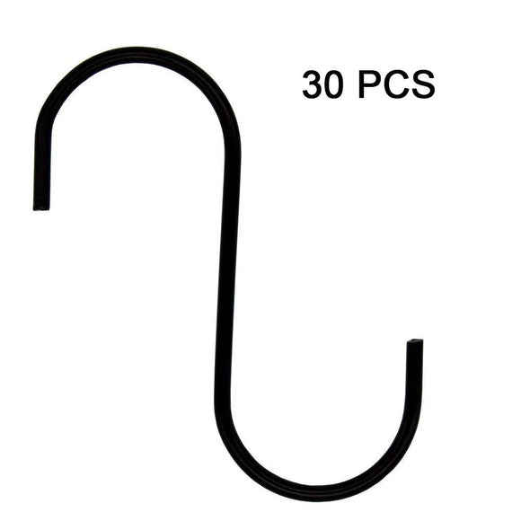 Richohome S-Hooks S Hooks Kitchen Pot Pan Hanger S Hanging Hooks S Shaped Hooks S Hanger Hooks, 30 Pack-Black