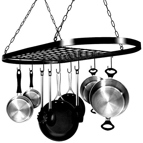 Oval Hanging Pot Rack for Kitchen Utensils Organizer for Pans Kitchenware Metal Black Colour Storage Decorative Oval Shaped Practical Modern with Hanging Hooks & eBook by Easy&FunDeals