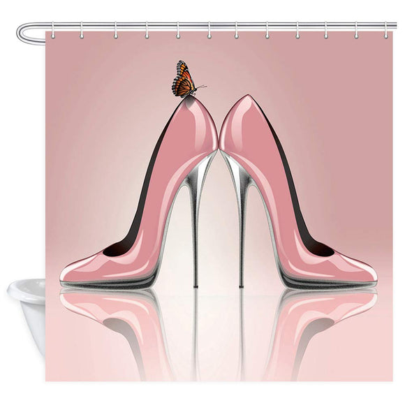 NYMB Fashion Lady Shower Curtain, Pink High Heeled Shoes and Butterfly Shower Curtain, Waterproof Fabric Girl Bathroom Decorations, Bath Curtains 12PCS Hooks Included, 69X70 inches