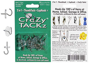 CraZy TACKz Push pin Hook.5 x .5 x 1.125, Clear, (Packaging May Vary)