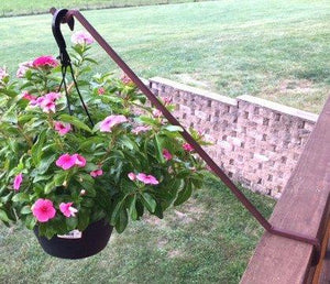 "3-Pack, 23"" Steel Angled Deck Potted Plant Hook-Rust"