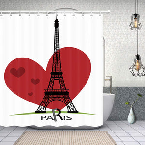 NYMB Paris Bath Curtain, Eiffel Tower with Red Heart Shaped for Valentine's Day, Fabric Shower Curtains for Bathroom, 69X70in, Shower Curtains Hooks Included