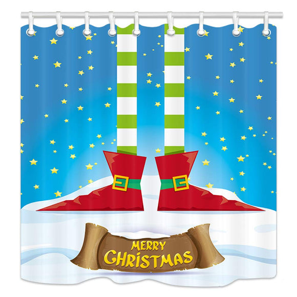 NYMB Winter Christmas Festival Decor, Cartoon Elfs Legs on Snowy North Pole with Christmas Stars, Polyester Fabric New Year Kids Shower Curtains for Bathroom, Shower Curtain Hooks Included, 69X70in