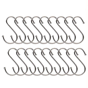 "20 Pack S Shaped Hanging Hooks, 3.14"" Heavy-duty Stainless Steel Hangers for Kitchen, Bathroom, Bedroom and Office Storage"